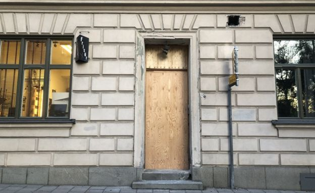 The scene of a 17 October attack in Stockholm