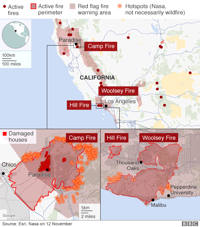 Northern California Fire Map 2018.California Wildfires Air Quality Rated World S Worst Bbc News