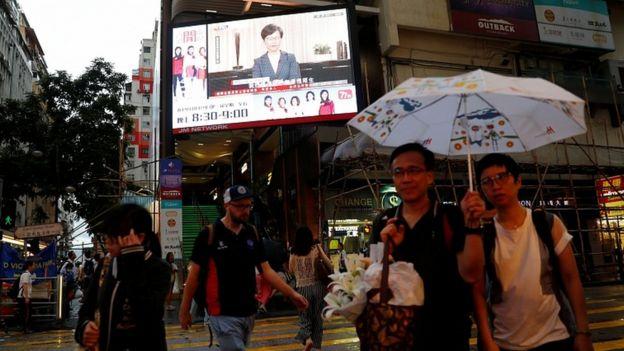 Siaran Carrie Lam di Hong Kong