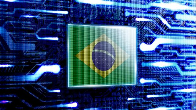 Brazil flag against computer chip background