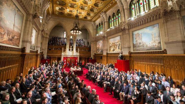 El salón del Senado de Canadá en Ottawa