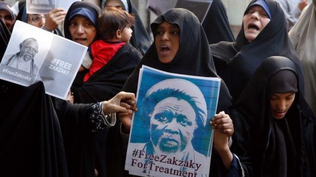 مظاهرات خرجت أمام السفارة النيجيرية في طهران، في 17 يوليو/تموز 2019، تطالب بالإفراج عن زكزاكي