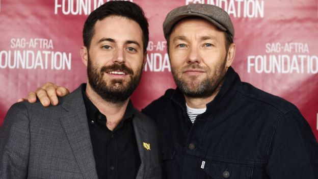 Boy Erased author Garrard Conley (L) and director and actor Joel Edgerton attend a screening of the film
