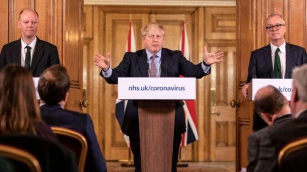 Boris Johnson addresses questions about coronavirus in a press briefing