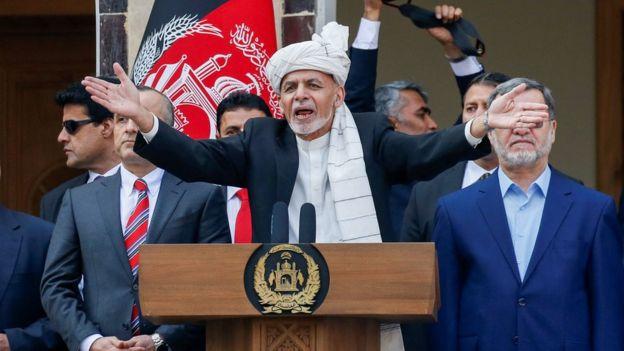 Afghanistan's President Ashraf Ghani speaks during his inauguration as president, in Kabul, Afghanistan