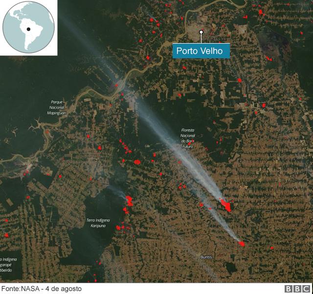 Mapa mostra queimadas na Amazônia
