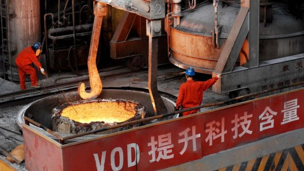 A Chinese steelworks