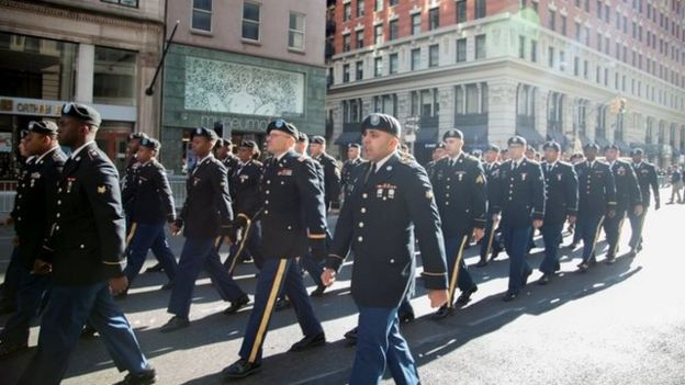 Parade of Veterans Day in New York