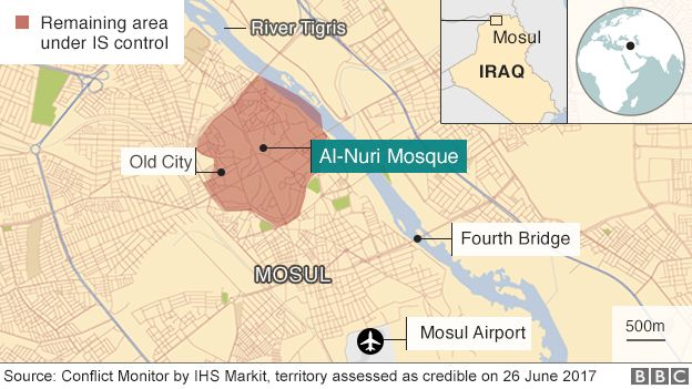 Map of Mosul showing Old City still controlled by IS