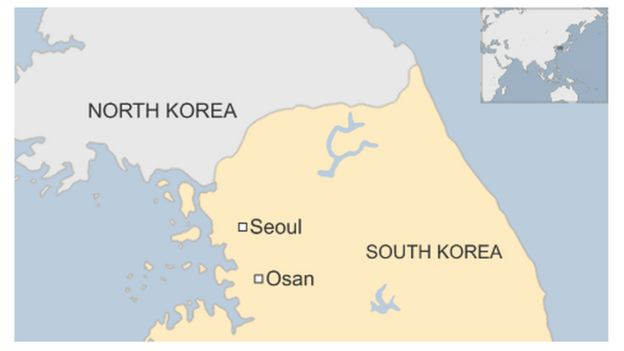 Map Of Osan And Seoul In South Korea