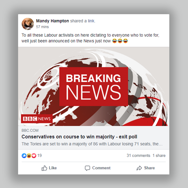 "Post from a local group which says ""to all those labour activists on here dictating to everyone who to vote for, well just been announced on the news just now"" followed by a link to breaking news about the exit poll"