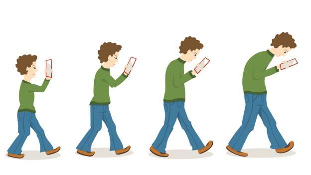 Dibujo de personas encorvadas con el celular