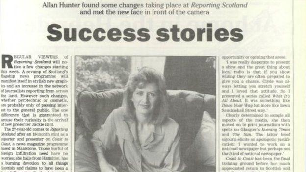 Jackie Bird in old newspaper cutting
