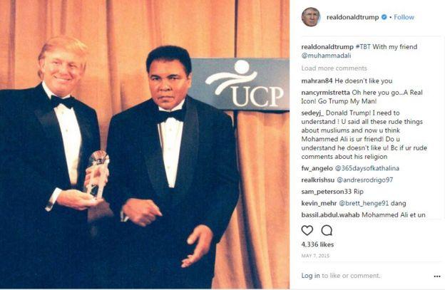 Trump, Perşembe günü 'arkadaşım' dediği Muhammed Ali ile bir fotoğrafını koymuştu