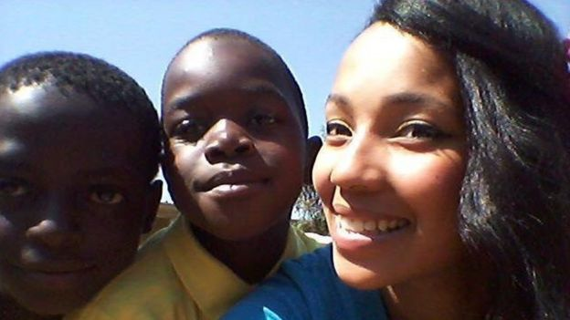Michillay Brown and two school kids