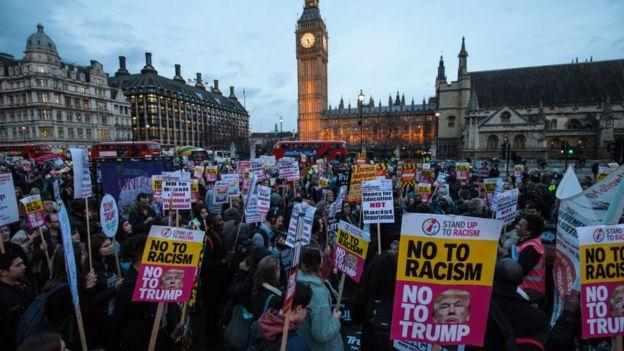 Biểu tình ở London phản đối chuyến thăm Anh của Tổng thống Trump