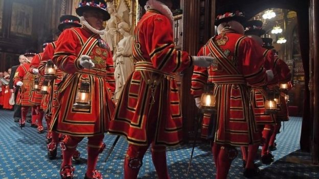 """The Yeoman of The Guard performing their traditional """"search"""" of the cellars of the Palace of Westminster"""