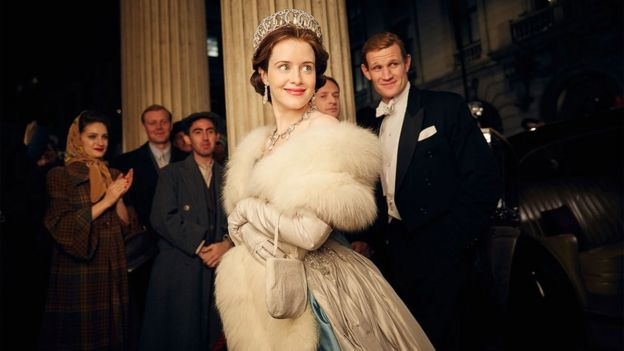 Claire Foy with Matt Smith in The Crown