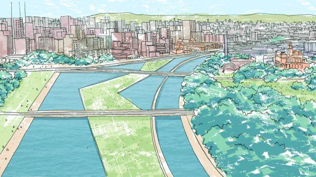 Perspectiva artística de reurbanização do Parque Dom Pedro