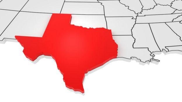 Mapa mostra sul dos EUA, com Texas destacado