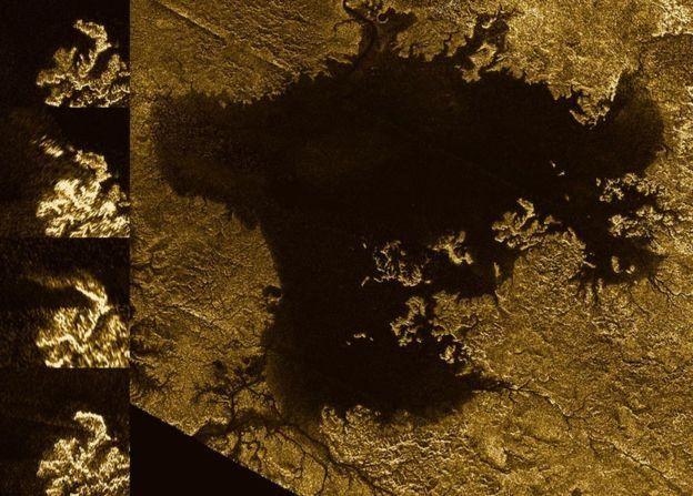 திதான் நிலவின் ஏரிகளும் கடல்களும் மீத்தேன், எத்தேன் மற்றும் பிற நீர்ம ஹைட்ரோகார்பன்களை உள்ளடக்கியுள்ளன