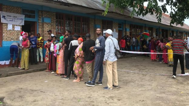 Voters at a polling station in Kinshasa
