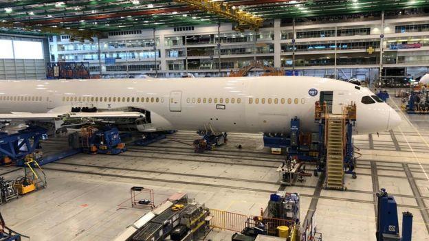 波音公司生产的787型客机,在等待交付给中国南方航空公司。