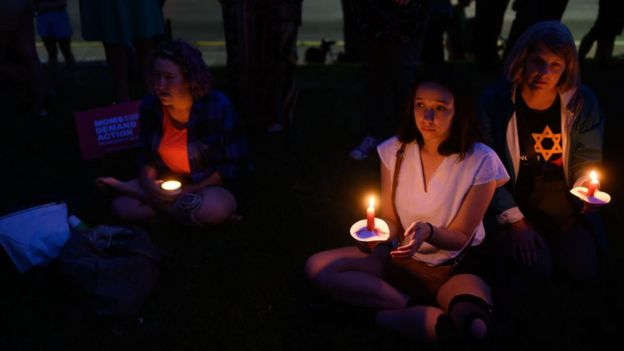 A candlelight vigil for the victims of the El Paso and Dayton shootings was held at the 6th Presbyterian Church in the Squirrel Hill neighbourhood of Pittsburgh, blocks from the Tree of Life Synagogue