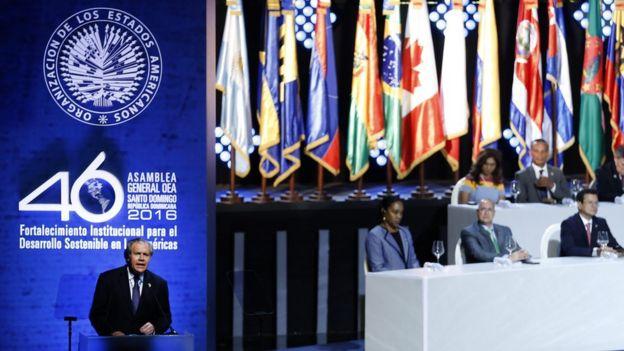 Luis Almagro, secretario general de la OEA, en la apertura de la Asamblea General.
