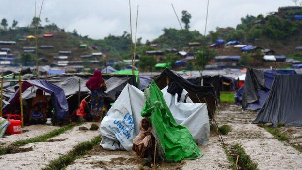 孟加拉城市Ukhia的羅興亞臨時難民營,攝於2017年9月9日