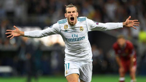 Gareth Bale celebra su gol contra el Liverpool.