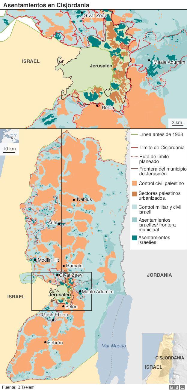 Mapa de asentamientos en Cisjordania