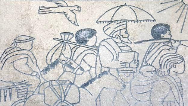 耶路撒冷的一個浮雕上顯示埃塞俄比亞猶太人前往蘇丹的途中。