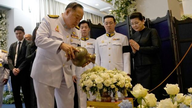 "Thailand""s Deputy Prime Minister Prawit Wongsuwan at Vichai Srivaddhanaprabha's funeral"
