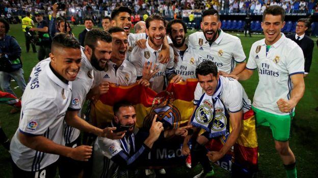 Celebración de jugadores del Madrid