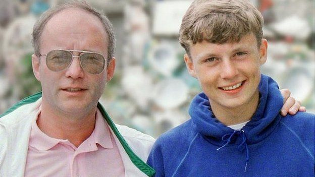 Peter Boxell pictured with his son, Lee, just before he went missing in 1988