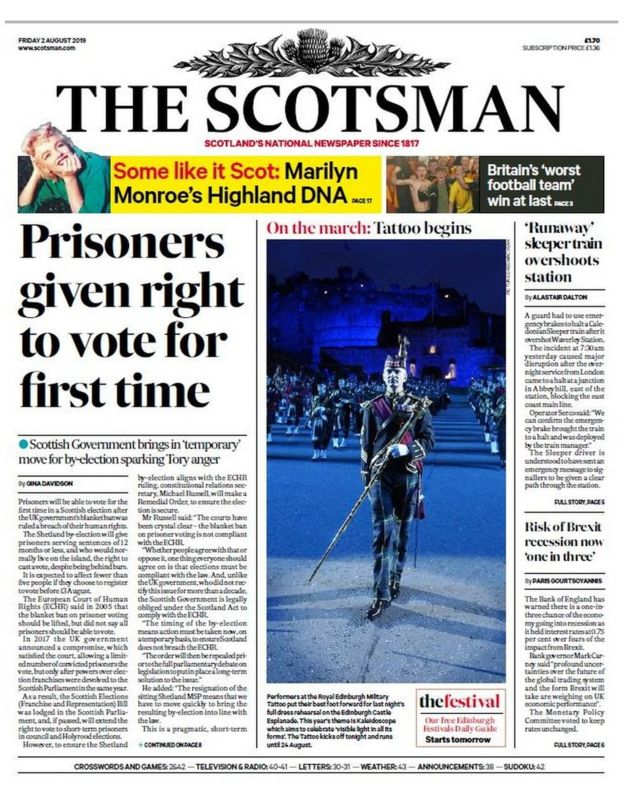 Scotland's papers: prisoner votes and 'disgusting' job