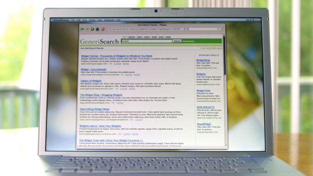 Una página con resultados de búsqueda