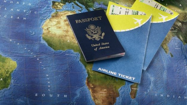 US passport and airline tickets