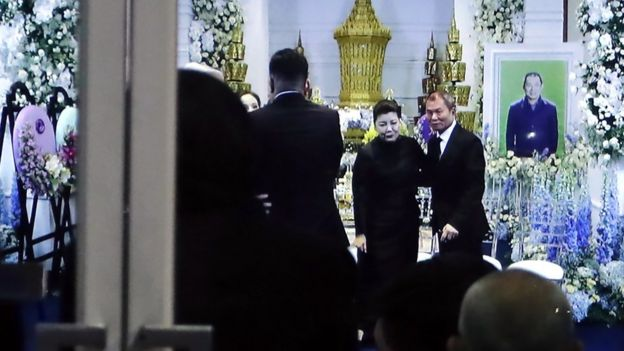 Aimon Srivaddhanaprabha at her husband's funeral