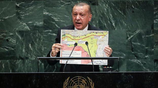أردوغان يعرض خريطة مقترحة للمنطقة الآمنة أمام الجمعية العامة للأمم المتحدة