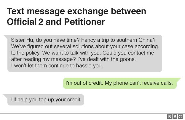 Text message exchange between Official 2 and petitioner