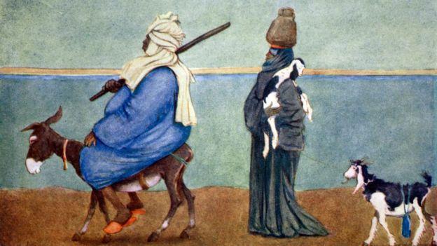 'Une ligne du ciel du Nil' (1908) de l'illustrateur anglais Lance Thackeray, montre un gros Égyptien sur un petit âne frêle et une personne plus pauvre marchant derrière.
