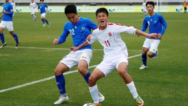 "South and North Korea""s youths play a soccer game during the 5th Ari Sports Cup in Chuncheon"