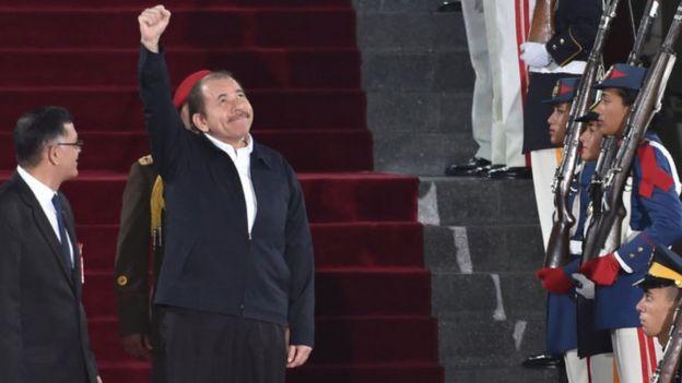 El mandatario de Nicaragua, Daniel Ortega, fue uno de los cuatro presidentes latinoamericanos que acompañaron a Maduro.