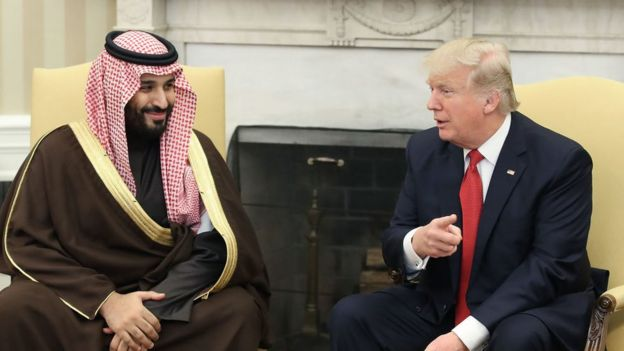 El príncipe saudita Mohammed bin Salman y Donald Trump.