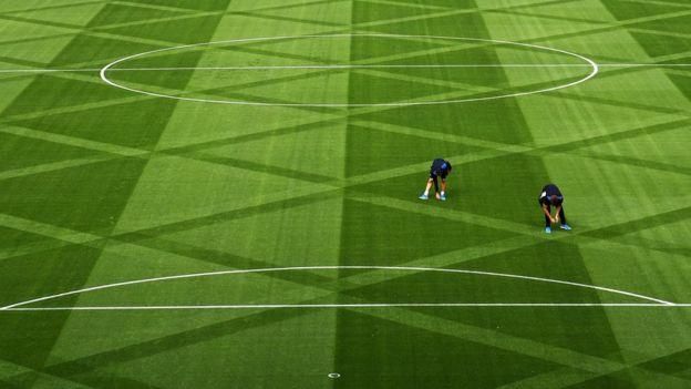 Campo en el estadio del Leicester City.