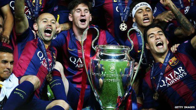 Barcelona yn dathlu ennill y gwpan yn erbyn Juventus yn 2015