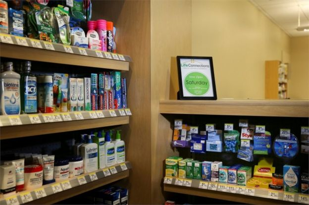 The inside of a Walgreens-operated pharmacy is seen at a Cisco health clinic in San Jose, California