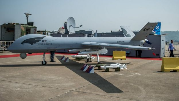 "The ""Yi Long"" drone by China Aviation Industry Corporation (AVIC) is displayed during the 9th China International Aviation and Aerospace Exhibition in Zhuhai on November 13, 2012"